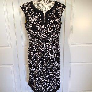JESSICA sleeveless dress floral blk whi yel 14P